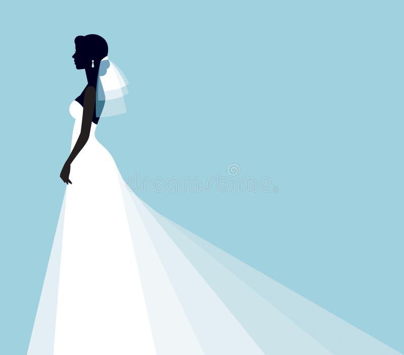 Konturstående av en ung brud i en profil i ett elegant vektor illustrationer