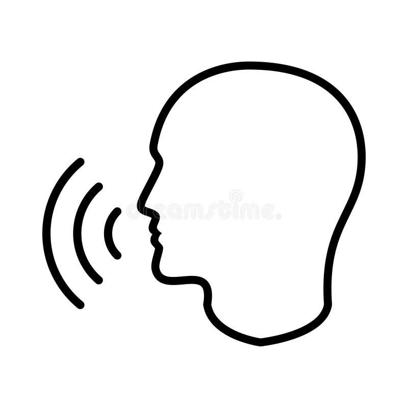 Kontursymbol för mänskligt huvud med stämmavågor royaltyfri illustrationer