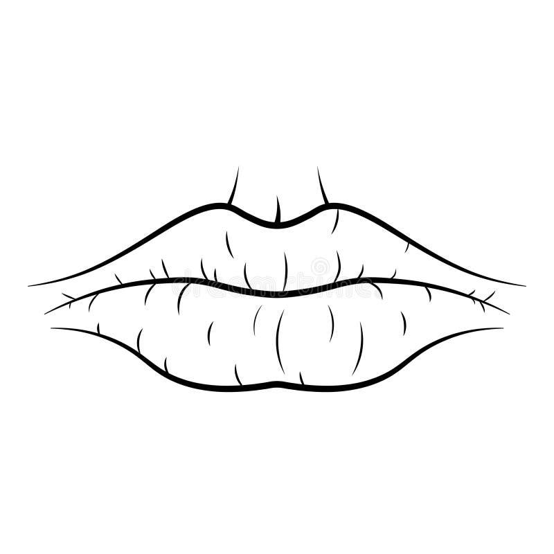 Kontursymbol för torr mun royaltyfri illustrationer
