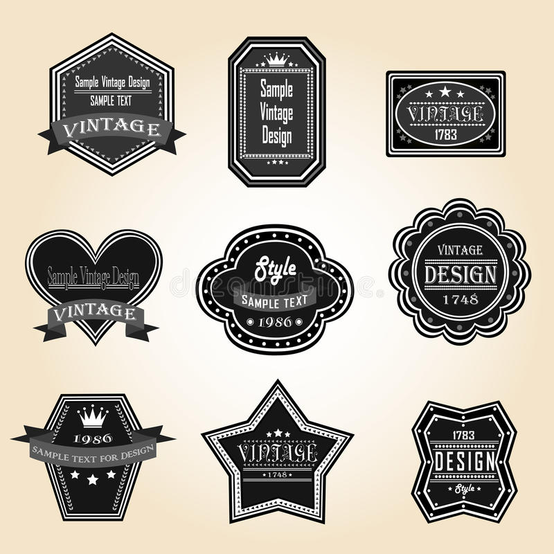 Konturtappning och retro emblem planlägger med prövkopiatext (vec vektor illustrationer