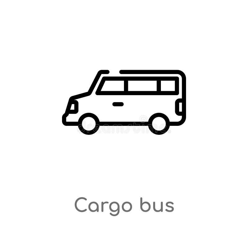 konturu ładunku autobusowa wektorowa ikona odosobniona czarna prosta kreskowego elementu ilustracja od dostawy i logistyki pojęci ilustracja wektor