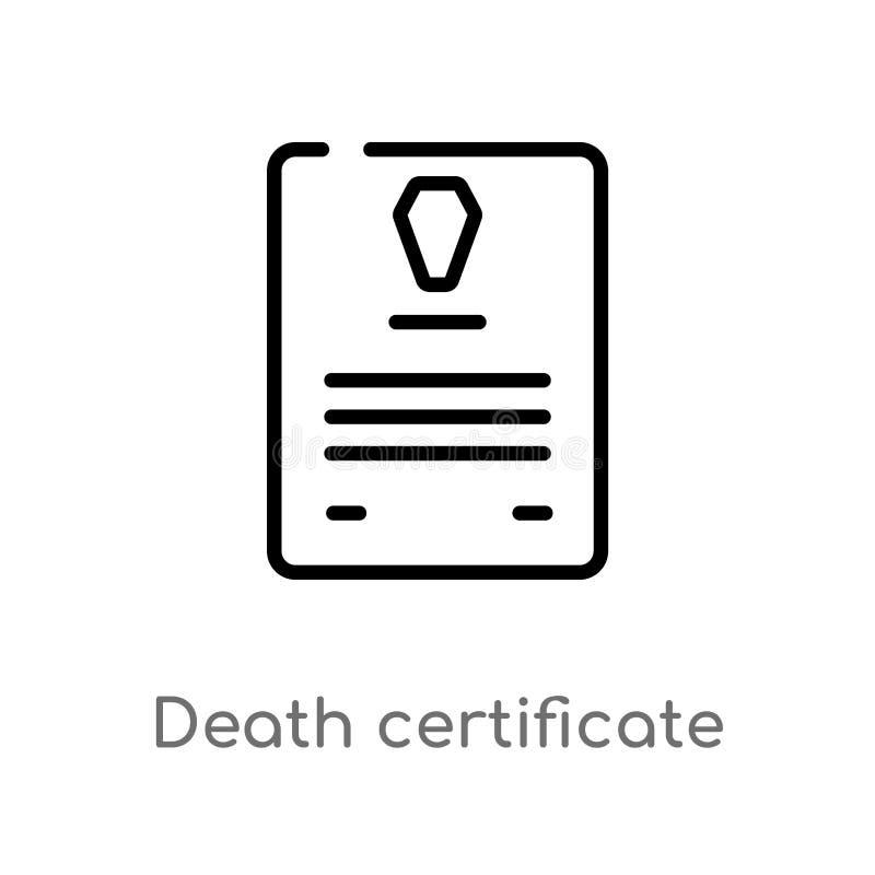 konturu śmiertelnego świadectwa wektoru ikona odosobniona czarna prosta kreskowego elementu ilustracja od prawa i sprawiedliwo?ci royalty ilustracja