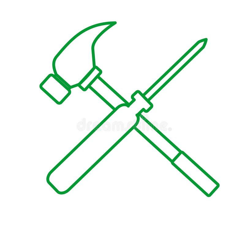 Konturu śrubokrętu młota krzyża Rysunkowa Wektorowa Ilustracyjna grafika royalty ilustracja