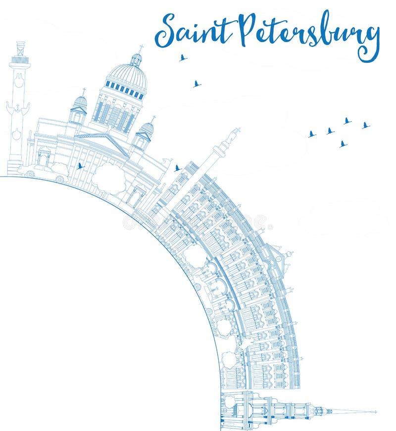 Konturu świętego Petersburg linia horyzontu z błękitnymi punktami zwrotnymi royalty ilustracja