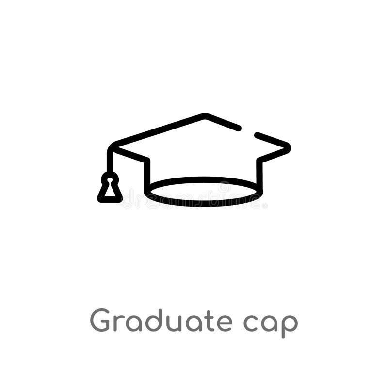 konturu absolwenta nakr?tki wektoru ikona odosobniona czarna prosta kreskowego elementu ilustracja od edukacji poj?cia Editable w ilustracji