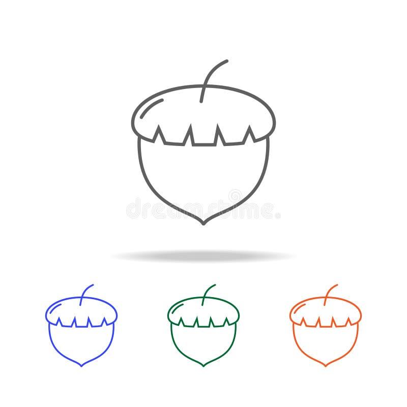 Konturu Acorn ikona Elementy owoc i warzywo w wielo- barwionych ikonach Premii ilości graficznego projekta ikona Prosta ikona dla ilustracji