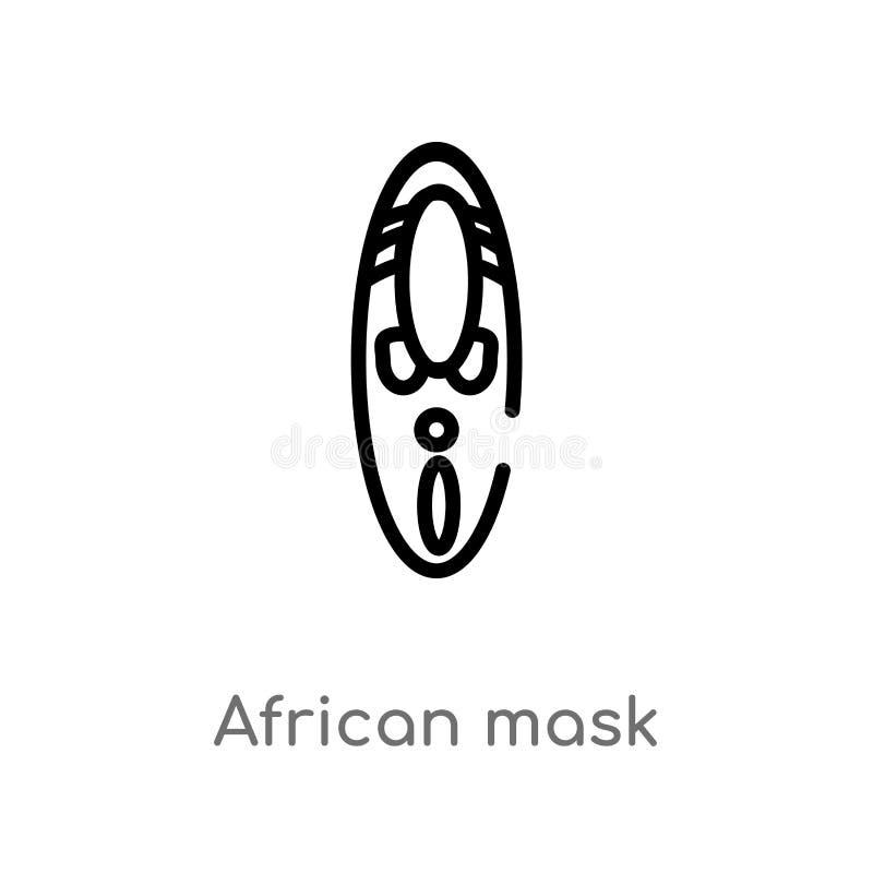 konturu afrykanina maski wektoru ikona odosobniona czarna prosta kreskowego elementu ilustracja od muzealnego poj?cia Editable we royalty ilustracja
