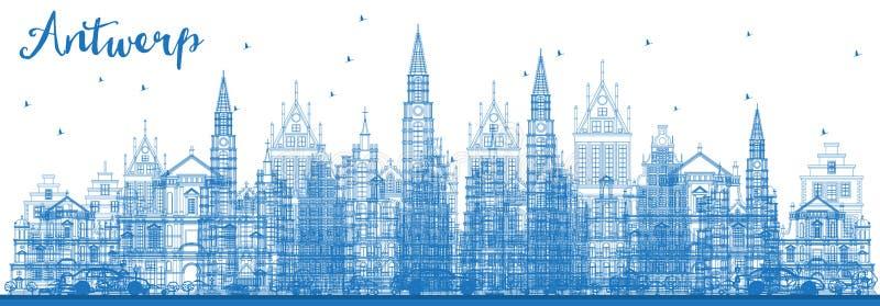 Konturu Antwerp Belgia miasta linia horyzontu z Błękitnymi budynkami royalty ilustracja