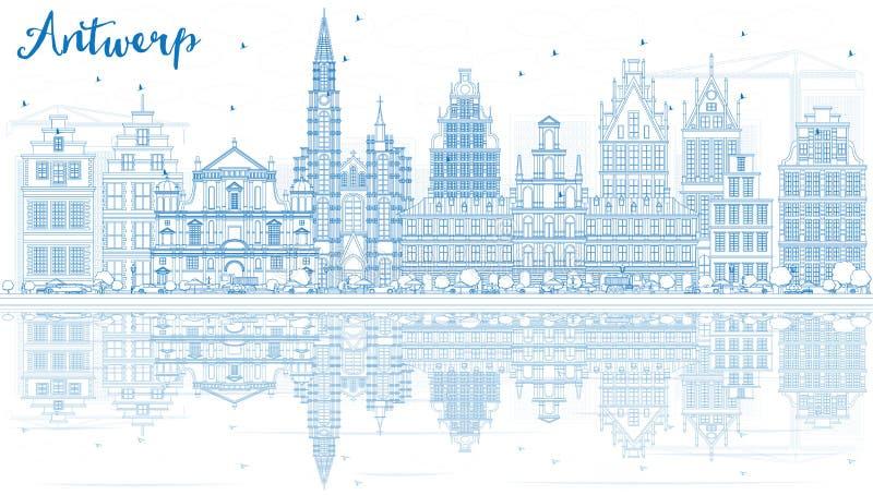 Konturu Antwerp linia horyzontu z Błękitnymi odbiciami i budynkami ilustracja wektor