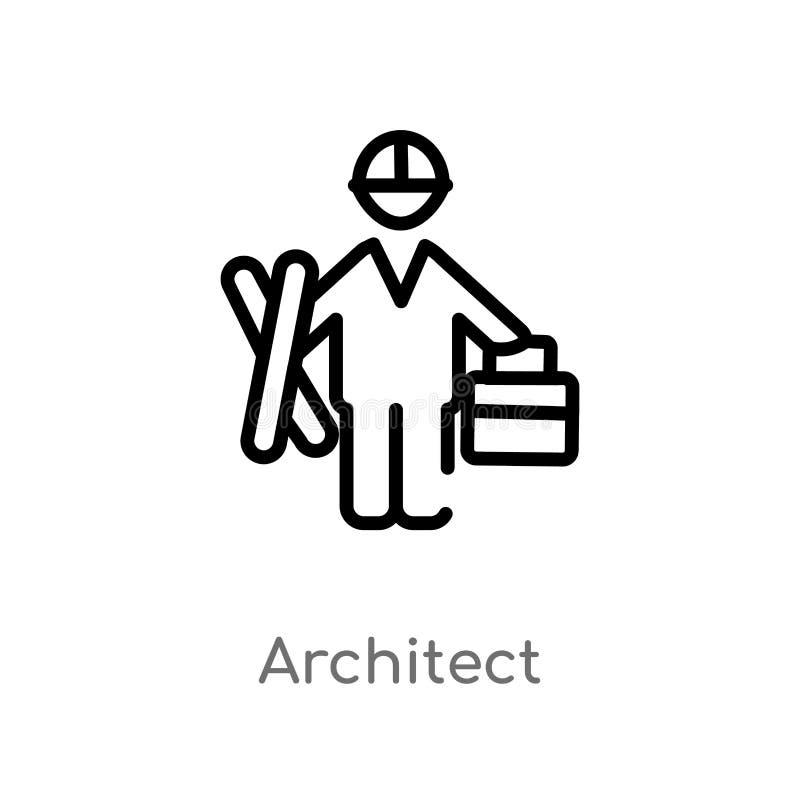 konturu architekta wektoru ikona odosobniona czarna prosta kreskowego elementu ilustracja od ludzi pojęć Editable wektorowy uderz royalty ilustracja