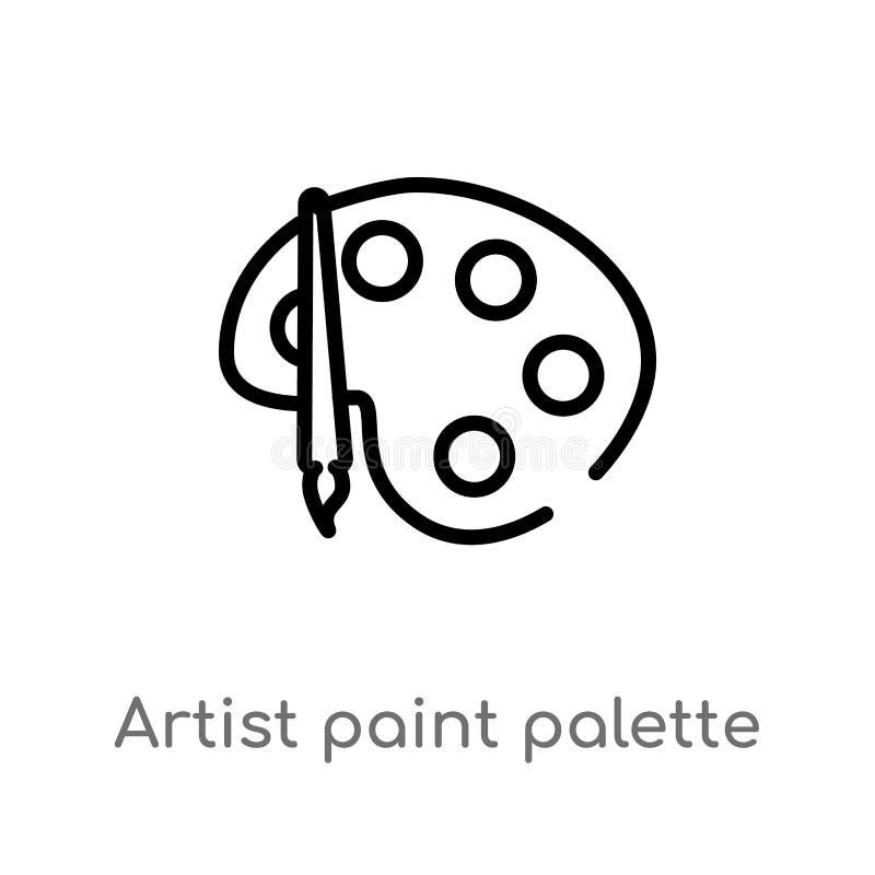 konturu artysty farby palety wektoru ikona odosobniona czarna prosta kreskowego elementu ilustracja od interfejs użytkownika poję ilustracja wektor