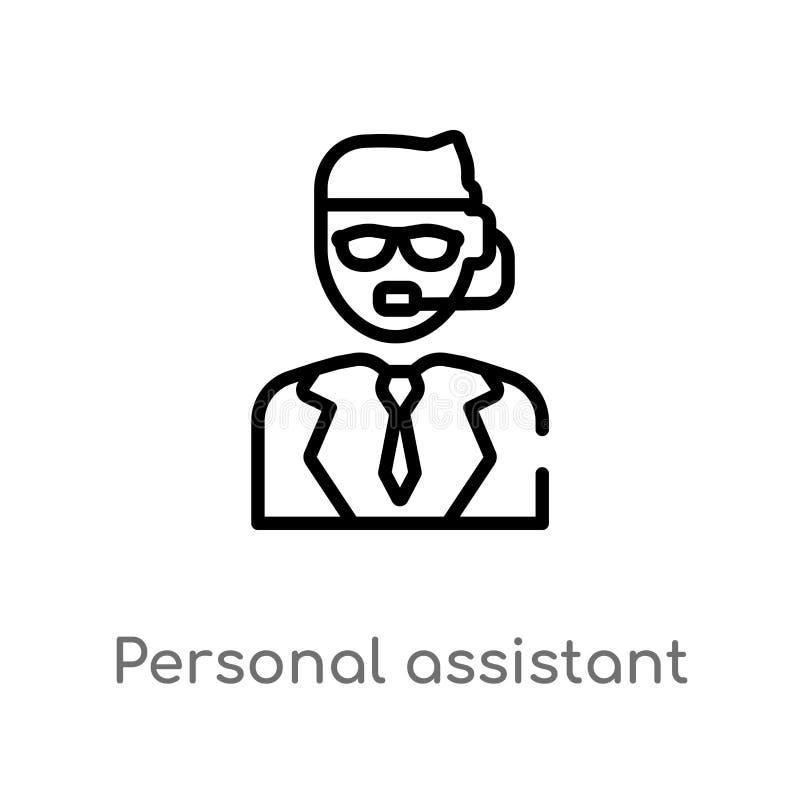 konturu asystenta osobistego wektoru ikona odosobniona czarna prosta kreskowego elementu ilustracja od sztucznego intellegence po ilustracja wektor