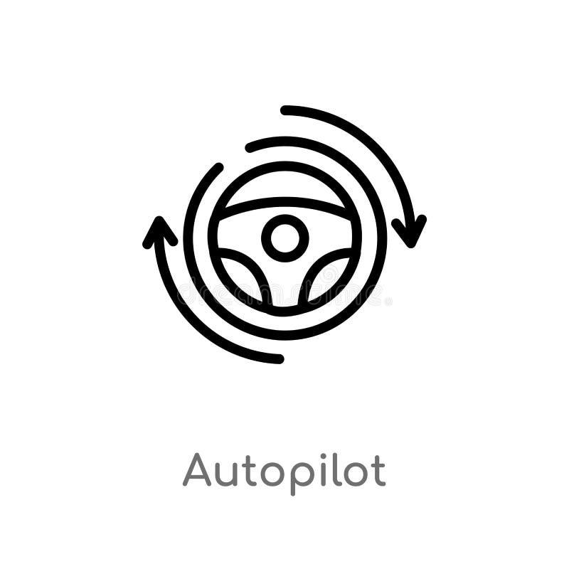 konturu autopilota wektoru ikona odosobniona czarna prosta kreskowego elementu ilustracja od general-1 poj?cia Editable wektorowy ilustracja wektor
