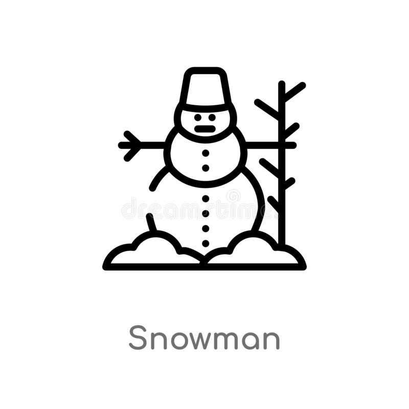 konturu bałwanu wektoru ikona odosobniona czarna prosta kreskowego elementu ilustracja od zimy poj?cia editable wektorowy uderzen royalty ilustracja