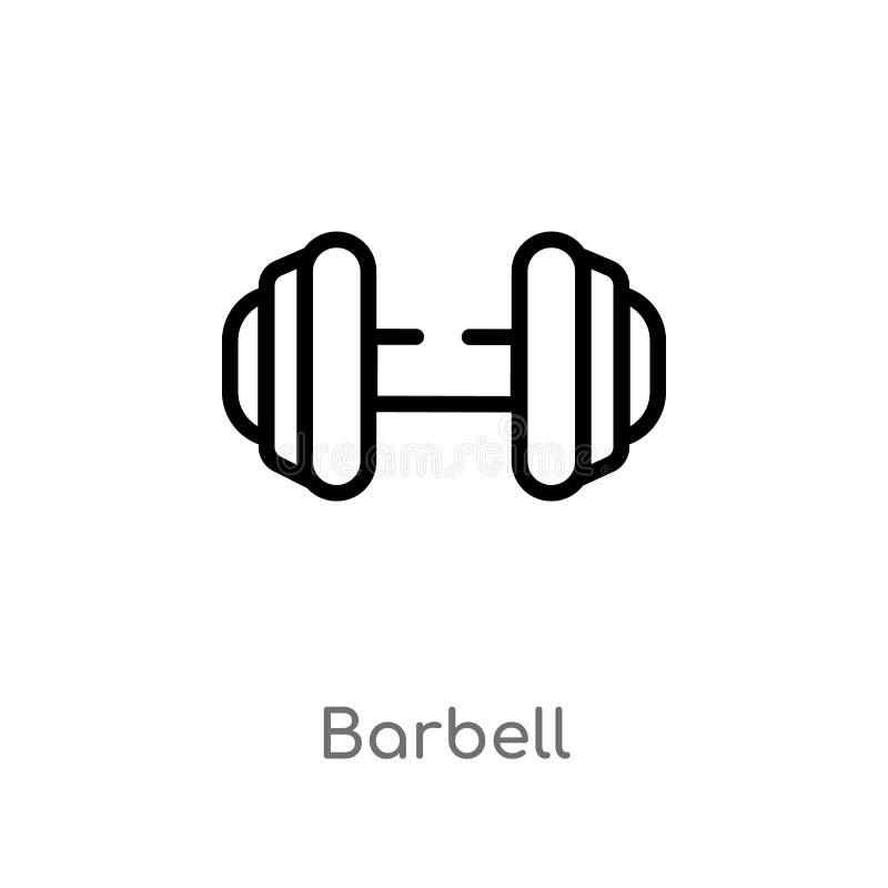 konturu barbell wektoru ikona odosobniona czarna prosta kreskowego elementu ilustracja od futbolu ameryka?skiego poj?cia Editable ilustracja wektor