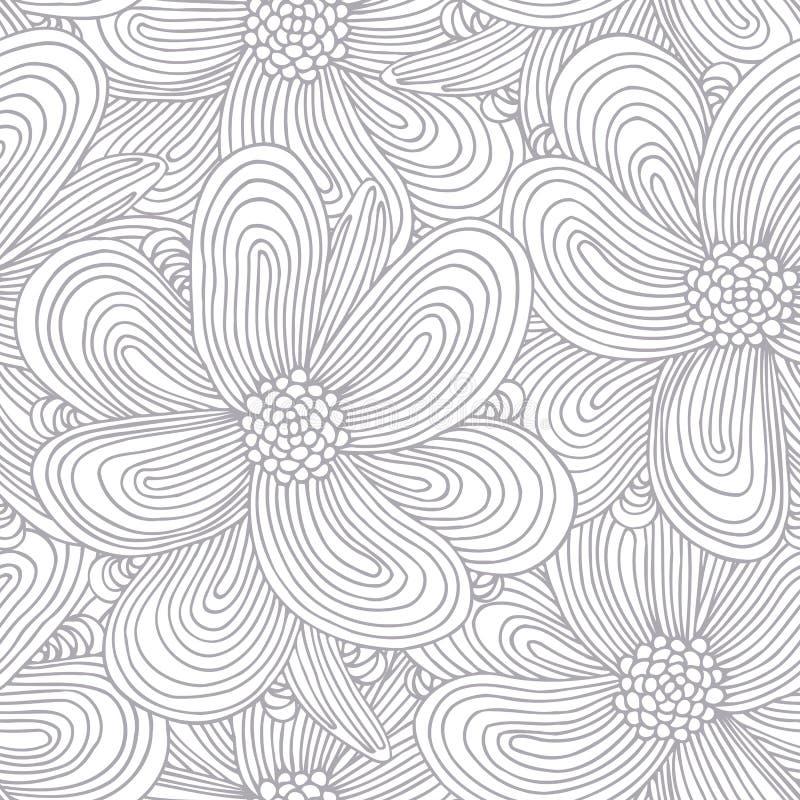 Konturu bezszwowy wzór z doodle kwiatami ilustracji
