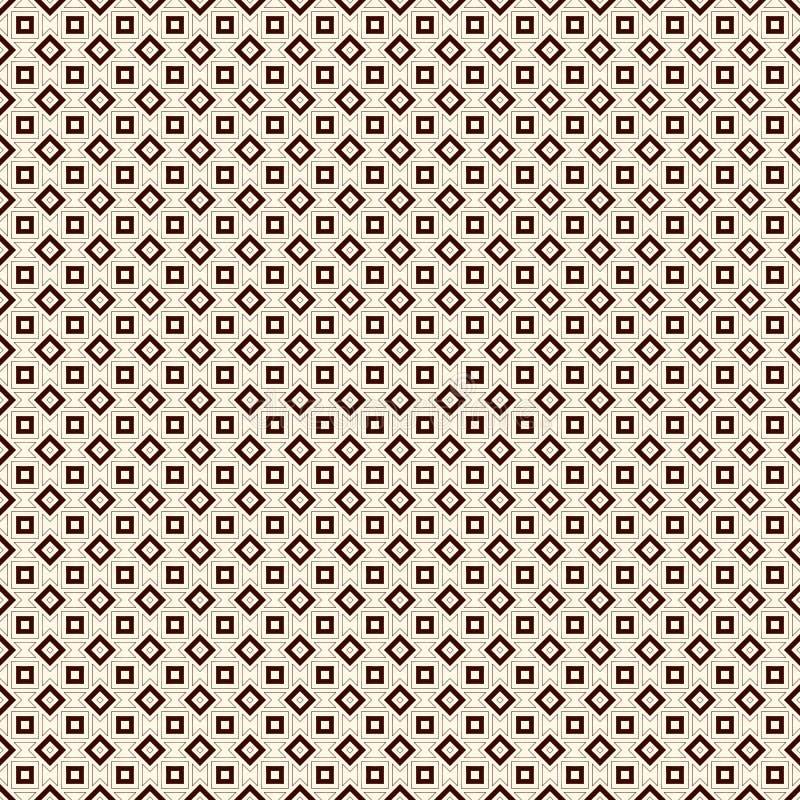 Konturu bezszwowy wzór z geometrycznymi postaciami Częstotliwy kwadratów i rhombuses ornamentacyjny abstrakcjonistyczny tło ilustracji