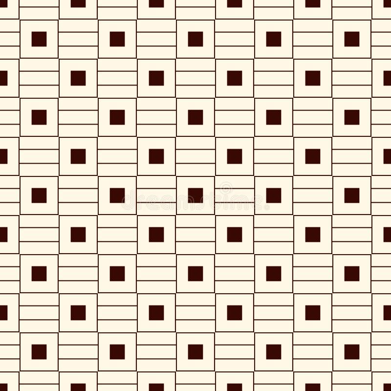 Konturu bezszwowy wzór z prostym geometrycznym ornamentem Częstotliwy kwadrat i horyzontalny lampasa abstrakta tło ilustracja wektor