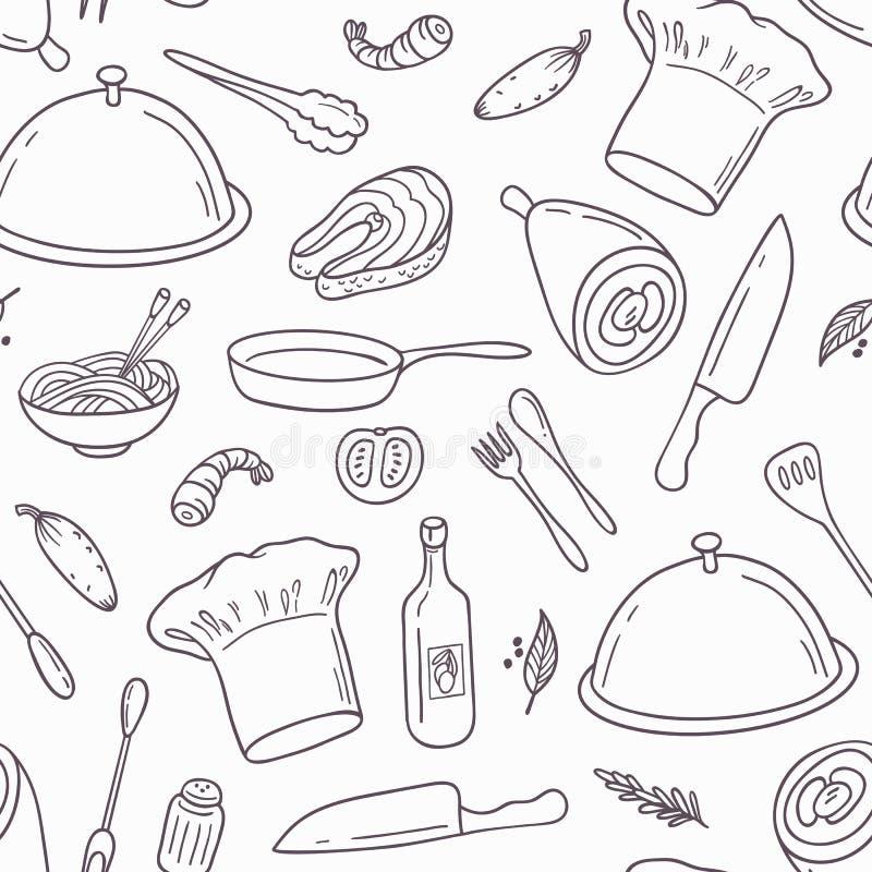 Konturu bezszwowy wzór z ręka rysującym jedzeniem ilustracja wektor