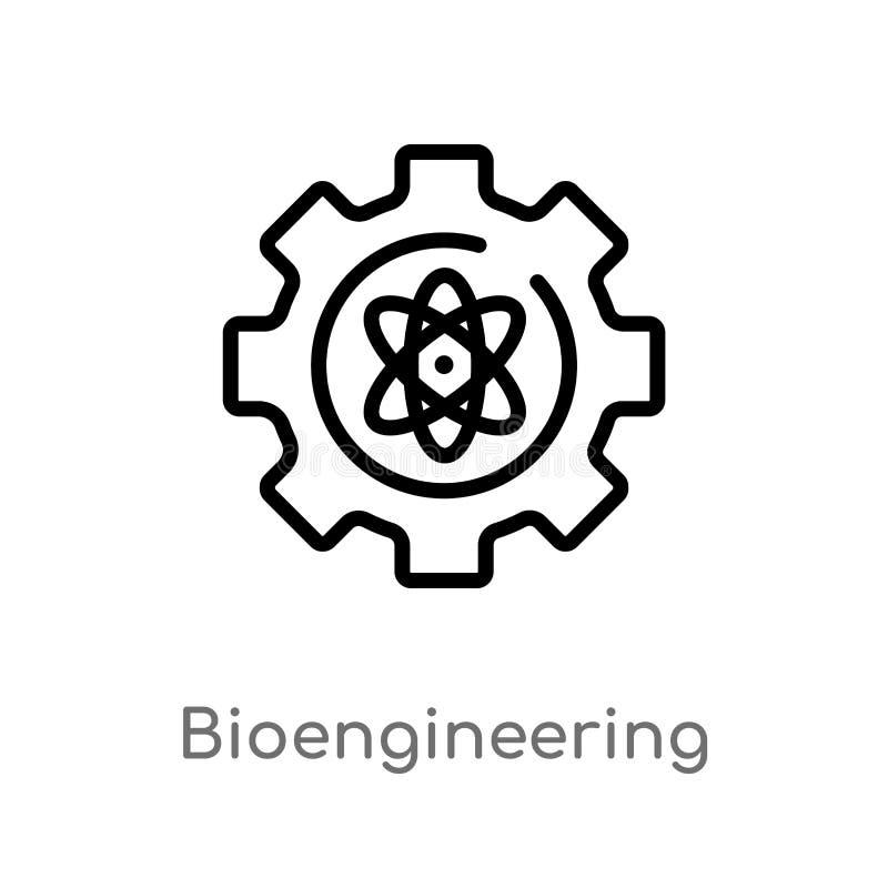 konturu bioengineering wektoru ikona odosobniona czarna prosta kreskowego elementu ilustracja od general-1 poj?cia Editable wekto ilustracja wektor