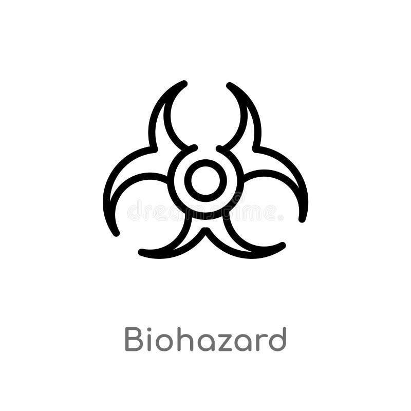 konturu biohazard wektoru ikona odosobniona czarna prosta kreskowego elementu ilustracja od chemii pojęcia Editable wektorowy ude ilustracja wektor