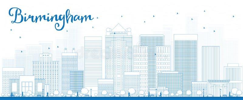 Konturu Birmingham linia horyzontu z Błękitnymi budynkami (Alabama) ilustracja wektor