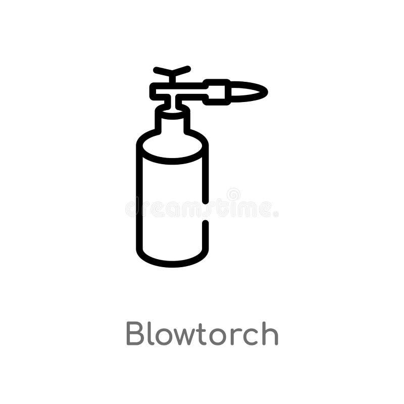 konturu blowtorch wektoru ikona odosobniona czarna prosta kreskowego elementu ilustracja od budowy poj?cia Editable wektorowy ude royalty ilustracja
