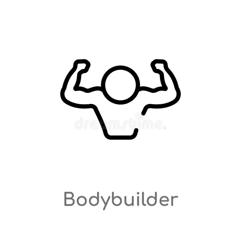 konturu bodybuilder wektoru ikona odosobniona czarna prosta kreskowego elementu ilustracja od gym i sprawności fizycznej pojęcia  royalty ilustracja
