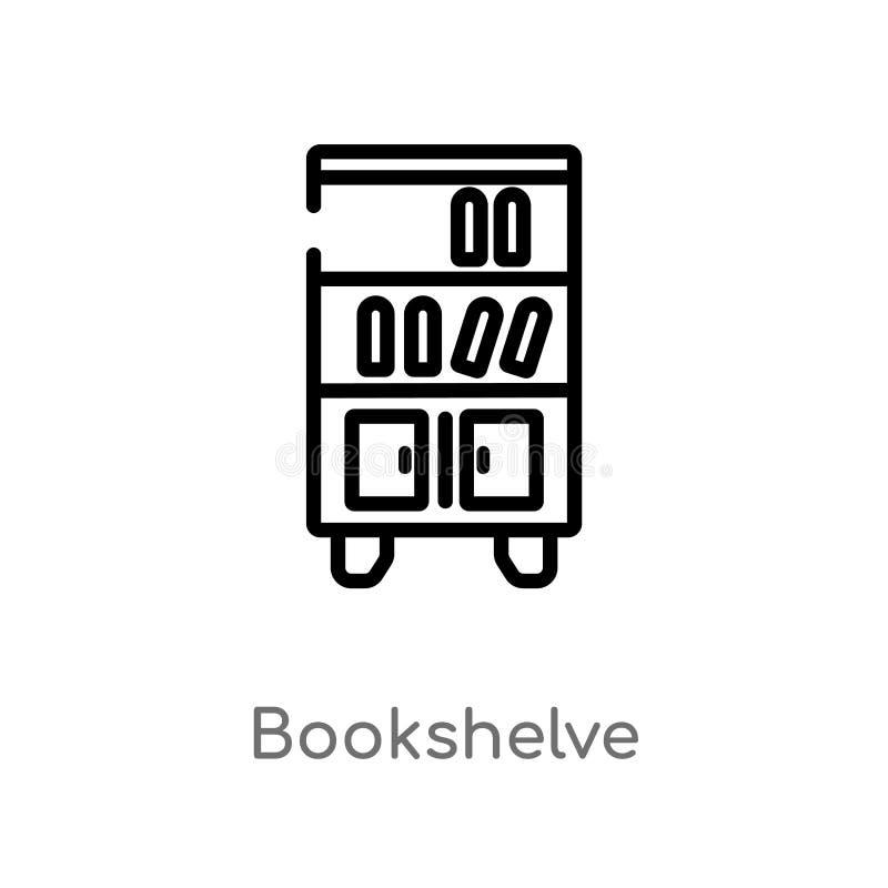 konturu bookshelve wektoru ikona odosobniona czarna prosta kreskowego elementu ilustracja od meblarskiego pojęcia Editable wektor ilustracji