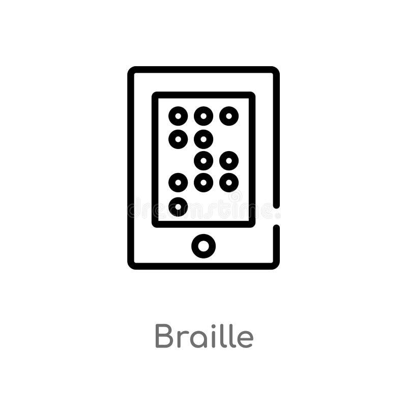 konturu Braille wektoru ikona odosobniona czarna prosta kreskowego elementu ilustracja od komunikacyjnego poj?cia Editable wektor ilustracja wektor