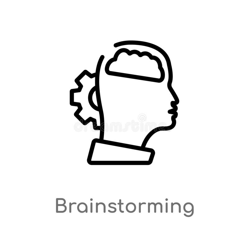 konturu brainstorming wektoru ikona odosobniona czarna prosta kreskowego elementu ilustracja od kreatywnie pocess pojęcia Editabl ilustracja wektor