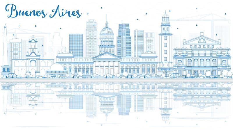 Konturu Buenos Aires linia horyzontu z Błękitnymi odbiciami i punktami zwrotnymi ilustracji