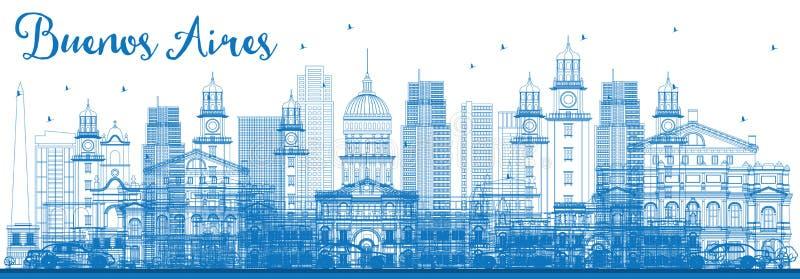 Konturu Buenos Aires linia horyzontu z Błękitnymi punktami zwrotnymi royalty ilustracja