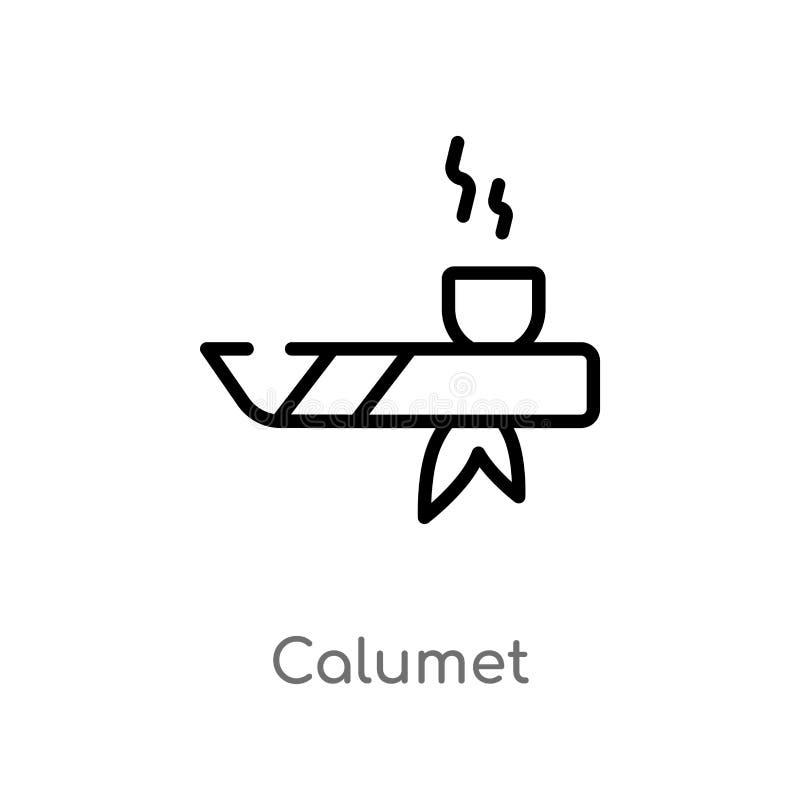 konturu calumet wektoru ikona odosobniona czarna prosta kreskowego elementu ilustracja od kultury poj?cia editable wektorowy uder royalty ilustracja