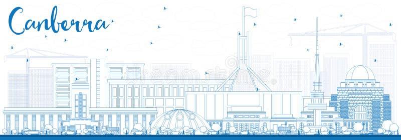 Konturu Canberra linia horyzontu z Błękitnymi budynkami ilustracji