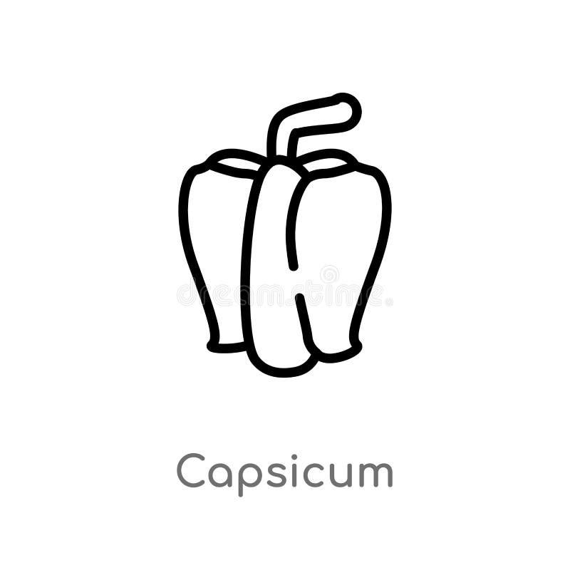 konturu capsicum wektoru ikona odosobniona czarna prosta kreskowego elementu ilustracja od rolnictwa uprawia ziemi? poj?cie Edita ilustracja wektor