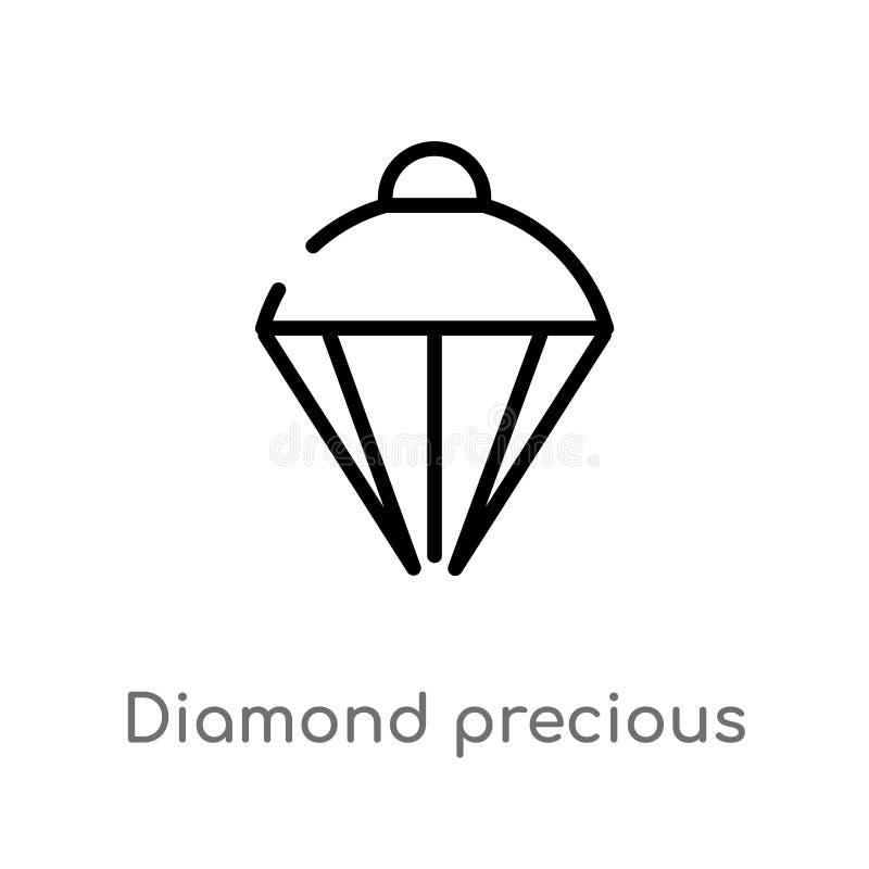konturu cennego kamienia wektoru diamentowa ikona odosobniona czarna prosta kreskowego elementu ilustracja od mody poj?cia Editab royalty ilustracja