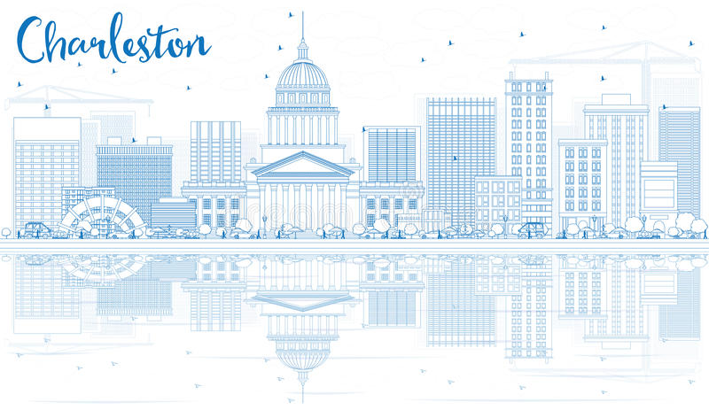 Konturu Charleston linia horyzontu z Błękitnymi odbiciami i budynkami royalty ilustracja