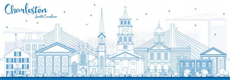 Konturu Charleston Południowa Karolina linia horyzontu z Błękitnymi budynkami ilustracji