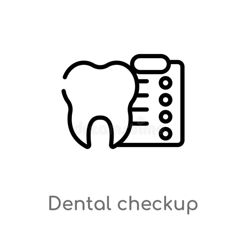 konturu checkup wektoru stomatologiczna ikona odosobniona czarna prosta kreskowego elementu ilustracja od dentysty pojęcia Editab ilustracja wektor