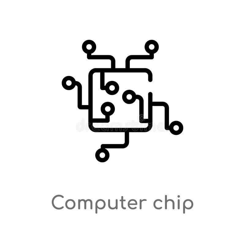 konturu chipu komputerowego wektoru ikona odosobniona czarna prosta kreskowego elementu ilustracja od komputerowego poj?cia Edita royalty ilustracja