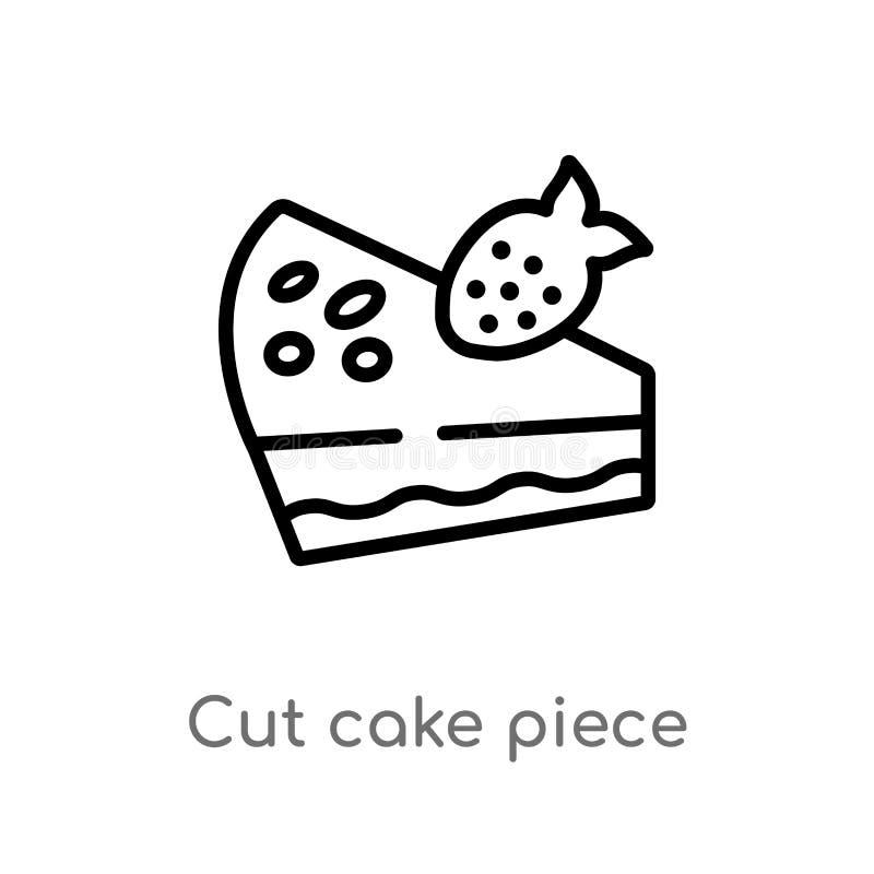 konturu cięcia torta kawałka wektoru ikona odosobniona czarna prosta kreskowego elementu ilustracja od bistr i restauracji pojęci royalty ilustracja