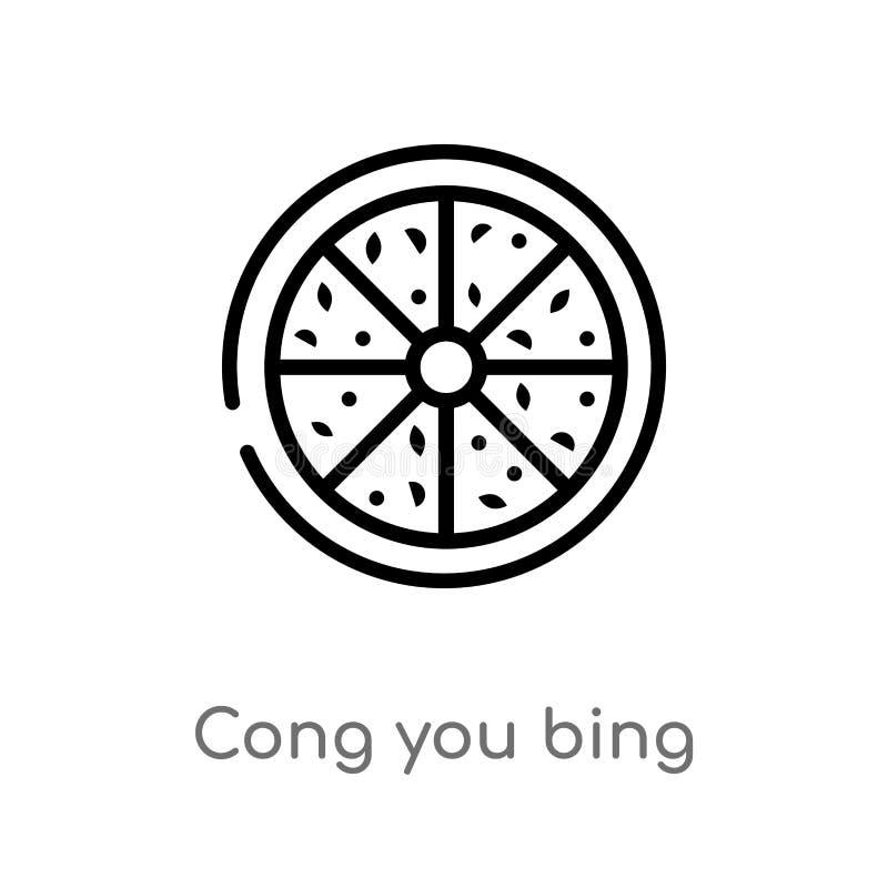 konturu cong ty bing wektoru ikona odosobniona czarna prosta kreskowego elementu ilustracja od karmowego i restauracyjnego pojęci royalty ilustracja