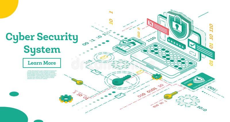 Konturu Cyber ochrony pojęcie Isometric ilustracja Odizolowywająca ilustracji