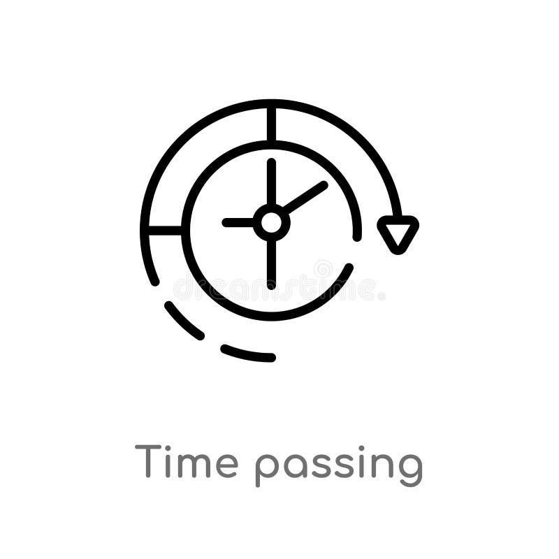 konturu czasu przelotna wektorowa ikona odosobniona czarna prosta kreskowego elementu ilustracja od produktywno?ci poj?cia Editab ilustracja wektor