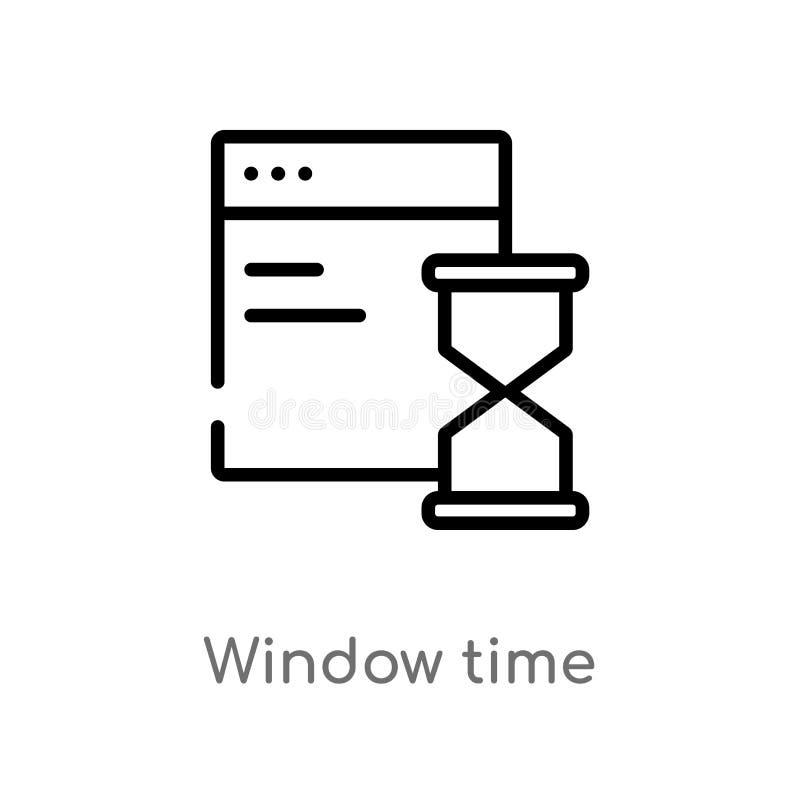 konturu czasu wektoru nadokienna ikona odosobniona czarna prosta kreskowego elementu ilustracja od interfejs u?ytkownika poj?cia  royalty ilustracja