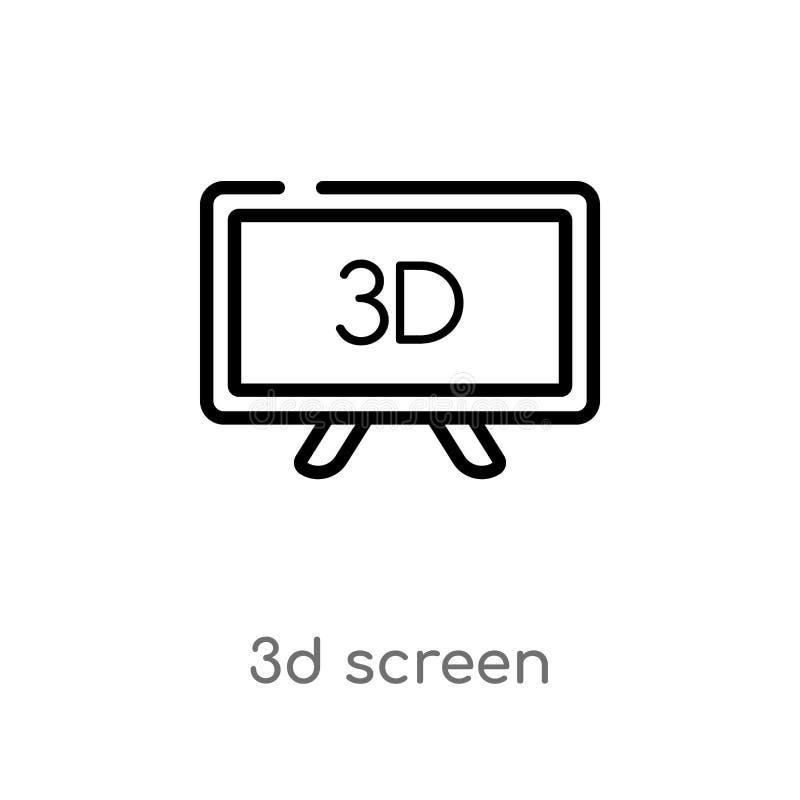 konturu 3d ekranu wektoru ikona odosobniona czarna prosta kreskowego elementu ilustracja od komputerowego poj?cia editable wektor ilustracja wektor
