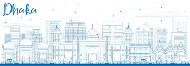 Konturu Dhaka linia horyzontu z Błękitnymi budynkami royalty ilustracja