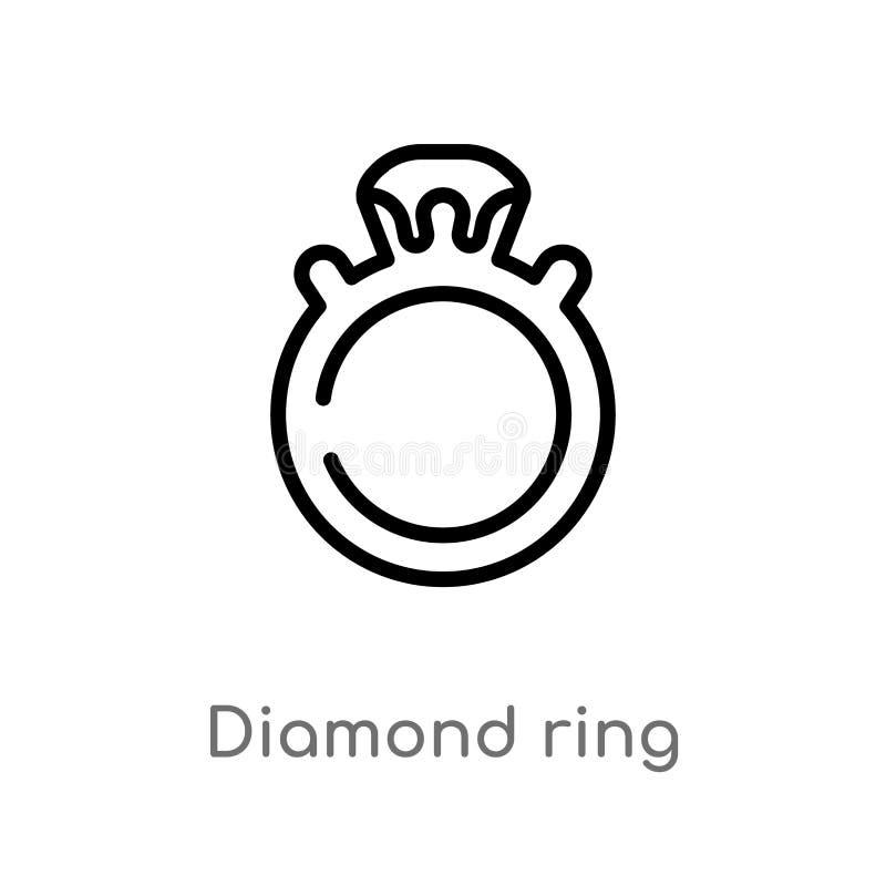 konturu diamentowego pier?cionku wektoru ikona odosobniona czarna prosta kreskowego elementu ilustracja od luksusowego poj?cia Ed ilustracja wektor