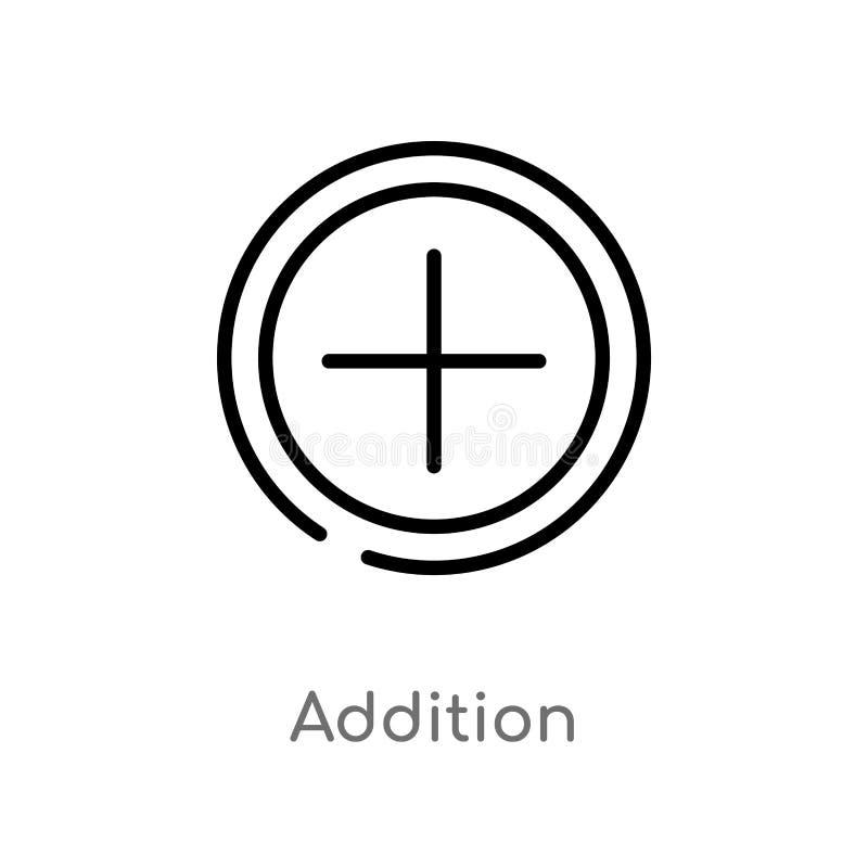 konturu dodatku wektoru ikona odosobniona czarna prosta kreskowego elementu ilustracja od znaka poj?cia editable wektorowy uderze ilustracji